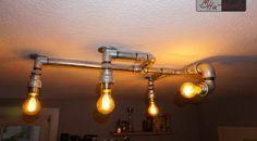 Design-Deckenlampe aus Rohren – Industrial Design Lighting  Rohrlampe , Deckenlampe, Steampunk