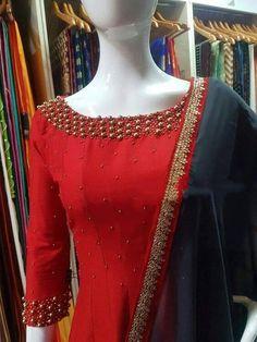 Kerala Saree Blouse Designs, Blouse Designs Silk, Dress Neck Designs, Designer Blouse Patterns, Bridal Blouse Designs, Kurta Patterns, Simple Kurta Designs, Kurta Designs Women, Churidhar Designs