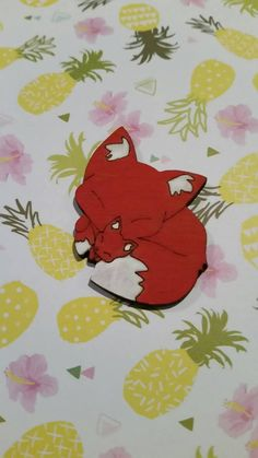 Foxy Momma brooch! Super cute kawaii style red fox cuddled up with baby cub.  This brooch has been lasercut from sustainable beechwood then hand painted in non toxic acrylic paint.  Bar back brooch finding.  Approx 5 cm.