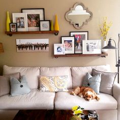 Wall decor above couch wall decor above couch best living room wall decor ideas above couch . wall decor above couch Above Couch Decor, Behind Couch, Above The Couch, Mirror Above Couch, Bedroom Walls, Family Room Walls, Shelves Over Couch, Living Room Shelves, Living Rooms