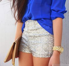 Just need to get me a pair of sparkle shorts for summer!! Adorable outfits im seeing matched with  them