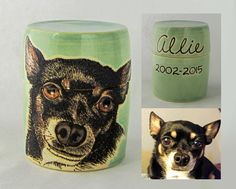 Dog Portrait Urn-Memorial Dog Urn- Love the way this one turned out. I think the Seafoam green/white clay looks great with the portrait. Medium Urn. https://www.etsy.com/listing/235266303/pet-memorial-pottery-urn-custom-dog-urn?ref=shop_home_active_1