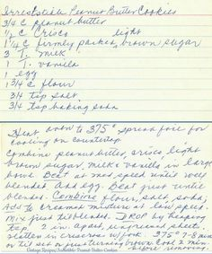Ingredients cup peanut butter cup Crisco 1 cup firmly packed light brown sugar 3 tablespoons milk 1 tablespoon vanilla 1 egg 1 cup flour teaspoon salt teaspoon baking powder Method Heat oven to Spread foil for cooling on countertops. Retro Recipes, Old Recipes, Vintage Recipes, Bread Recipes, Yummy Recipes, Yummy Food, Cookie Desserts, Cookie Recipes, Dessert Recipes
