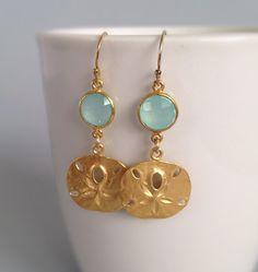 Sand Dollar Earrings with aqua chalcedony bezel set by AinaKai
