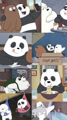 we bare bears wallpaper Cute Panda Wallpaper, Cute Patterns Wallpaper, Bear Wallpaper, Galaxy Wallpaper, We Bare Bears Wallpapers, Panda Wallpapers, Cute Cartoon Wallpapers, Ice Bear We Bare Bears, We Bear
