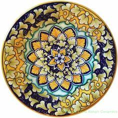 Ceramic Majolica Plate Blue Orange Acanthus