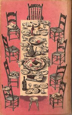 'Plats du Jour, or Foreign Food' by Primrose Gray and Patience Boyd. Illustrations by David Gentleman, 1957 Art And Illustration, Food Illustrations, David Gentleman, Cool Sketches, Art Inspo, Painting & Drawing, Pop Art, Ephemera, Art Photography