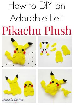 Get the complete instructions of hwo to make your own Pikachu plush right here. Adorable Pokemon craft for young kids, tweens and teens. Learn how to sew with this fun felt craft! This Pikachu craft ideas would make a great Pokemon birthday party favor! #Pikachu #PokemonCraft #PikachuCraft #Pokemon #DIYPlush #craftsforkids #Mamainthenow