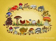 mushroom prints: alanna hernandez arts, etsy