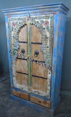 Indian Bikaneri Door Painted Cabinet