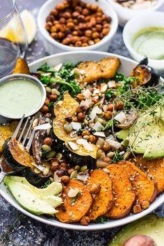 This Sweet Potato, Squash and Kale Buddha Bowl with cilantro-tahini dressing & crispy chili-lime chickpeas!