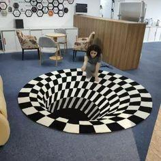 US$ 46.98 - Vortex Illusion Rug - m.57diy.com Cool Illusions, Optical Illusions, New Carpet, Rugs On Carpet, Carpets, Room Carpet, Magic Carpet, Living Room Bedroom, Rugs In Living Room