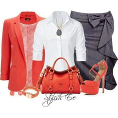 Charcoal gray side ruffle skirt wit white button up top/coral blazer/purse/heels