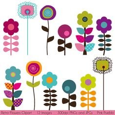 Retro Flowers Clipart Clip Art, Mod Vintage Flowers Clipart Clip Art - Commercial and Personal Use