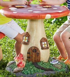 Fairy-Tale Mushroom Table: Too expensive...similar base shape, circle top, and bottom...paint it.