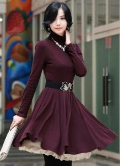 Adorable winter dress. Love the color and slip bottom.