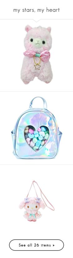 """""""my stars, my heart"""" by sophididoo ❤ liked on Polyvore featuring fillers, plushies, fillers - pink, stuffed animals, accessories, bags, backpacks, clear transparent bag, crystal clear bags and blue bag"""