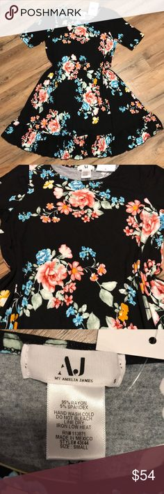 Small Floral My Amelia James Dress Super soft and stretchy. Flowy and adorable with a belt. My Amelia James Dresses