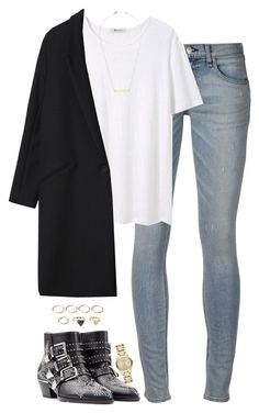 """""""Untitled #4846"""" by eleanorsclosettt ❤ liked on Polyvore featuring rag & bone, T By Alexander Wang, Jeweliq, Gérard Darel, Chloé, Burberry and Forever 21"""