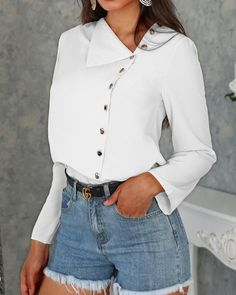 Solid Button Embellished Casual Blouse Women's Online Shopping Offering Huge Discounts on Dresses, Lingerie , Jumpsuits , Swimwear, Tops and More. Trendy Outfits, Fashion Outfits, Womens Fashion, Latest Fashion, Fashion Clothes, Style Fashion, Outfits Camisa Blanca, Shirt Blouses, Shirts