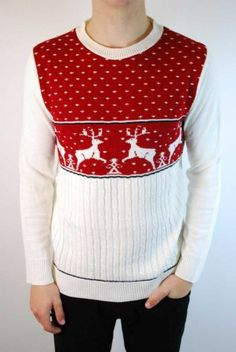 Men's cable knit retro red reindeer festive Christmas jumper