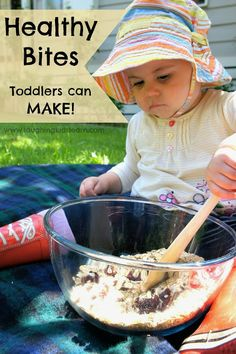 Healthy bites recipe that toddlers can make themselves. You probably have all you need in the pantry for these too! Enjoy.     Laughing Kids Learn
