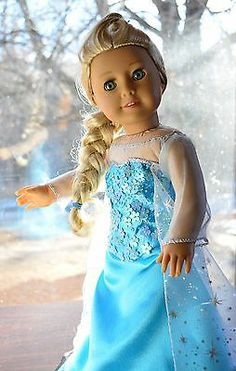 """Hand Embroidered Elsa's Dress in Frozen Clothes for 18"""" American Girl -Lumi"""
