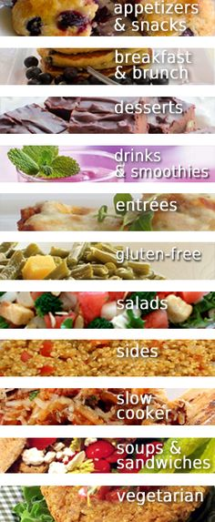 Skinny Recipes... Divided into categories. There's even one for slow cooker recipes! Pin now, check out later
