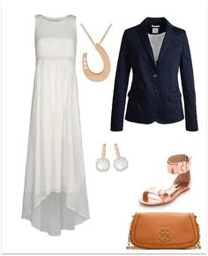 Great End of Summer Outfit. Bring on a beautiful white maxi dress, navy blue blazer, rose gold gladiator shoes and a Tory Burch clutch. Mix the gold tone look with yellow gold and white topaz earring + a little bit of luck pendant in rose gold.