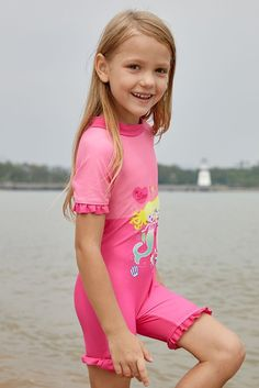 Pink Little Mermaid Girls Swimsuit
