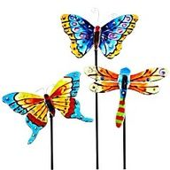 Pier 1 Assorted Glass Butterfly & Dragonfly Stakes