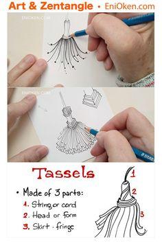 Mini-Tassels Lesson Bundle or Ebook — Eni Oken - leslie sansone Zentangle Drawings, Doodles Zentangles, Doodle Patterns, Zentangle Patterns, Tangled Flower, Leslie Sansone, Tangle Art, Coloring Tutorial, Chalkboard Art