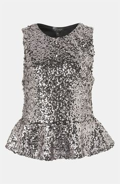 Topshop Sequin Peplum Top