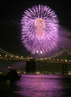 Fireworks Above The Bay Bridge - San Francisco, California