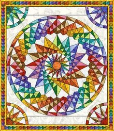 A Mariner's Compass and Costa Rica Wheel quit, inspired by Judie Mathieson's Mariner's Compass Quilts book.