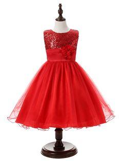 Feest jurk met strik, bloem, pailletten rood - ieniemieniepartys