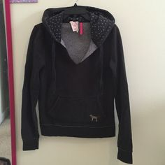 VS Pink Hooded Pullover- Size Medium In really great condition! This sweatshirt is very soft, comfy, and warm. It has a gold dog on the front with blue hearts in the hood. No rips or stains! PINK Victoria's Secret Tops Sweatshirts & Hoodies