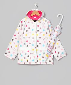 Take a look at this White Polka Dot Raincoat & Umbrella - Infant, Toddler & Kids by Foxfire on #zulily today!