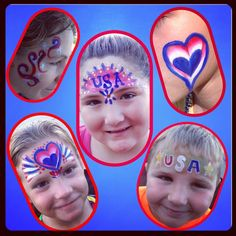 Some Fourth of July face painting fun! Red, White, and Blue!
