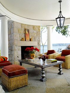 OUTDOOR FIREPLACE BHG  Gracious Outdoor Living For Fall