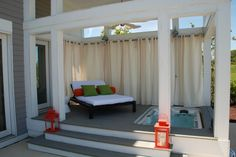beautiful outdoor hottub area- i could do this right outside my bedroom- take windows out-put in french doors...