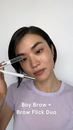 Start with Brow Flick to add depth + follow up with Boy Brow to thicken, fluff and shape = the full Glossier brow, in two easy steps. Get them together and save! Eyebrow Makeup Tips, Skin Makeup, Beauty Skin, Beauty Makeup, Hair Beauty, Makeup Looks For Brown Eyes, Blonde Hair With Highlights, Brow Pomade, Creative Eye Makeup