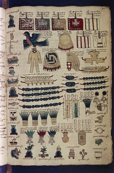 Codex Mendoza Lists the tribute towns were required to pay to the Aztec empire Mendoza, Aztec Weapons, Machu Picchu, Mayan Astrology, Aztec Clothing, Ancient Alphabets, Aztec Empire, Aztec Warrior, Cradle Of Civilization