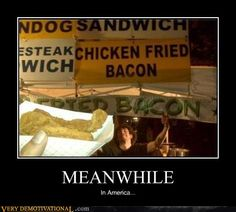 Meanwhile, in America Meanwhile In America, Very Demotivational, Funny People Pictures, God Bless America, Laughing So Hard, Fried Chicken, I Laughed, Fries, Bacon