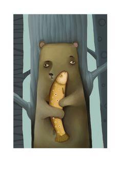 Bear with fish art printkid nursery wall decor by NanuGraphic