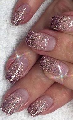 Color glitter 48 Nail Art Designs You Need To Try This Year stylish gorgeous glam natural nail art design polish manicure gel painting creative color paint toenails sexy feet Nail Design Glitter, Pink Nail Designs, Glitter Nail Art, Shellac Nails Glitter, Rose Gold Glitter Nails, Glitter French Manicure, White Glitter, Cute Nails, Pretty Nails