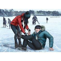 BTS Fanart : Jungkook failing to impress his gf on skates | credits: dlazaru