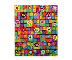 Flower Power Rag Time Quilt Pattern – Uses Raw Edge Quilting Technique  Finished Quilt Size 56 x 70  Create this fun rag quilt using cotton or flannel