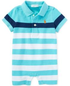 Ralph Lauren Baby Boys' Striped Polo Shortall - Shop All Baby - Kids & Baby… Toddler Boy Fashion, Little Boy Fashion, Toddler Boys, Baby Kids, Kids Fashion, Baby Boy One Pieces, Polo Outfit, Baby Boy Swag, Sewing Baby Clothes
