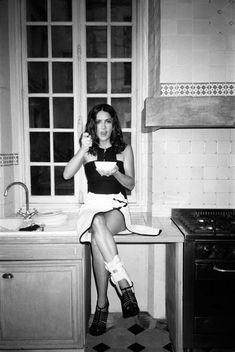 photo by cass bird. Salma Hayek. Caught in the act. On camera flash.